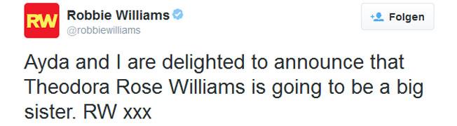 Robbie Williams zweites Kind